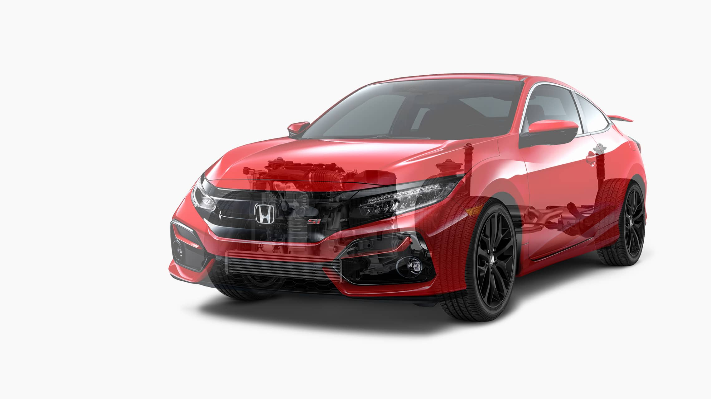 Front 7/8 driver's side view of 2020 Honda Civic Si Coupe in Rallye Red displaying the powertrain and adaptive damper system layout rendering.
