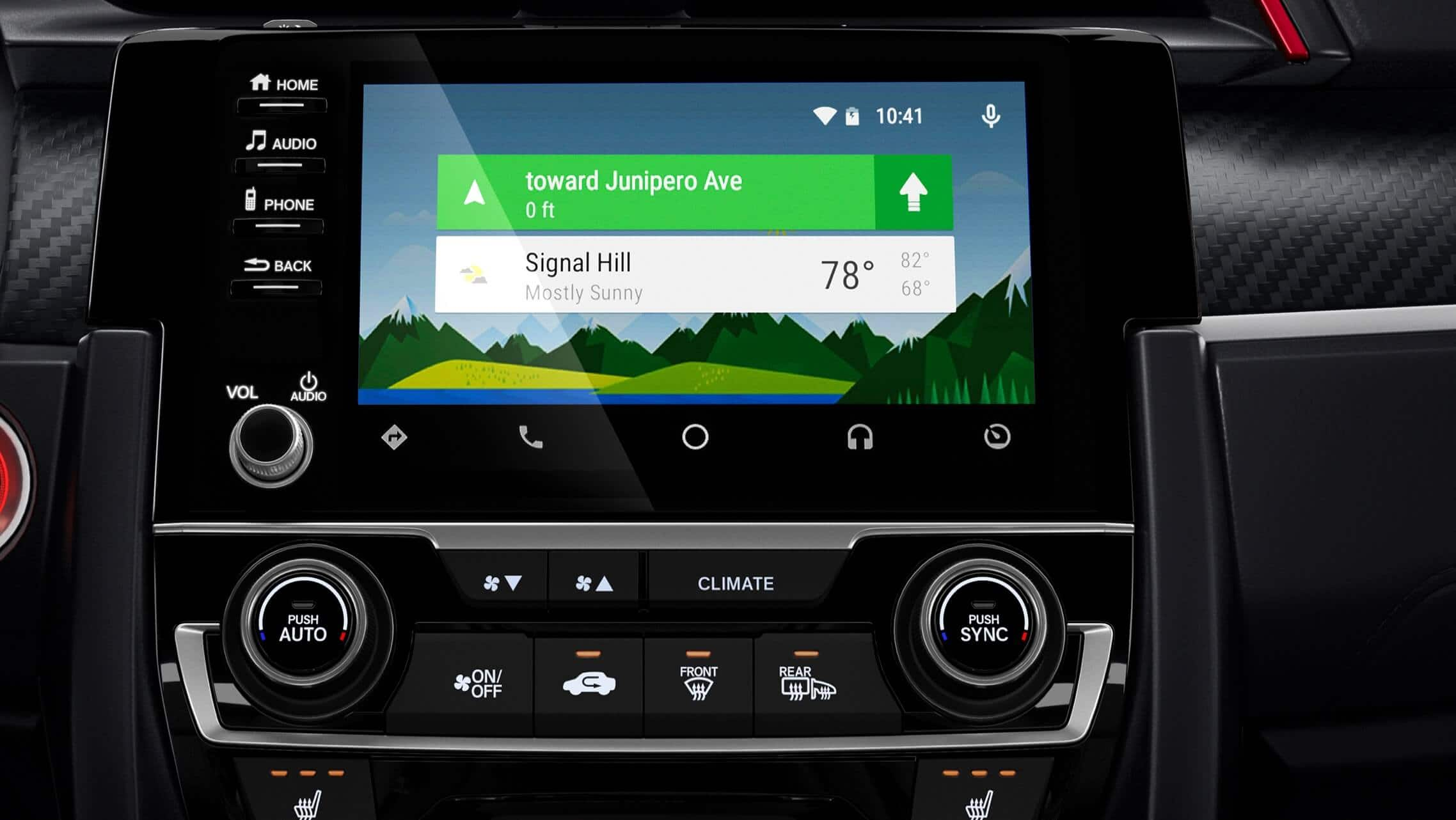 Android Auto™ detail on Display-Audio touchscreen in 2020 Honda Civic Si Coupe.